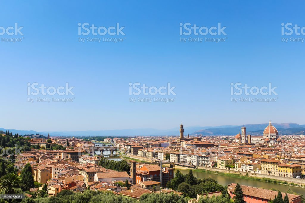 Historic Center of Florence with Florence Cathedral, Palazzo Vecchio, Arno River and Ponte Vecchio from Michelangelo Square (Piazzale Michelangelo), Italy. stock photo