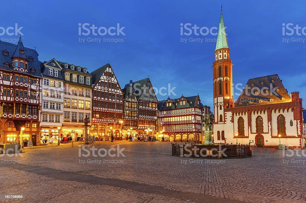 Historic Center of Frankfurt at night stock photo