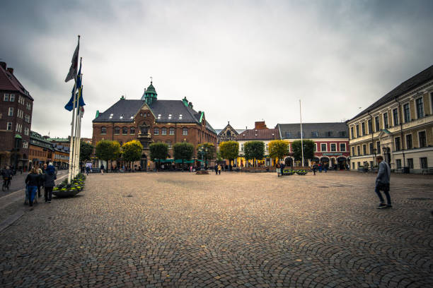 lund - october 21, 2017: historic center of lund, sweden - lund stock photos and pictures