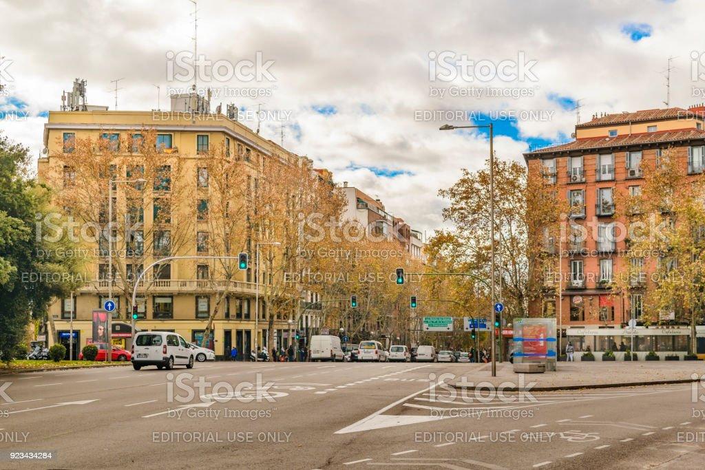 Historic Center Urban Scene, Madrid, Spain stock photo