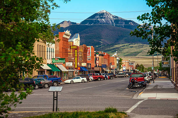 Historic Centre of Livingston, Montana stock photo