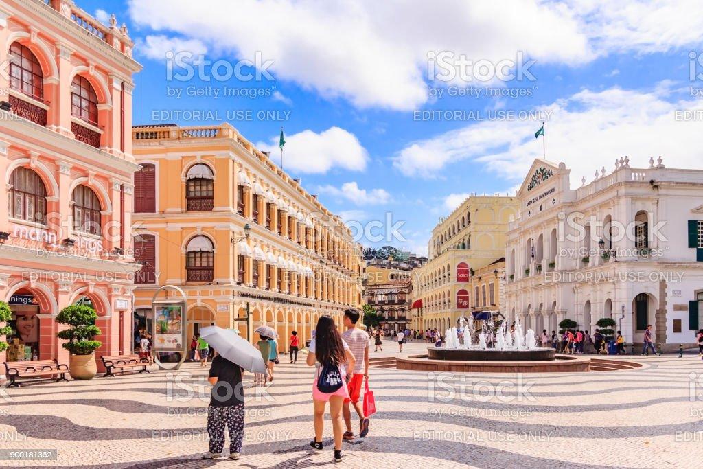 Historic Centre of Macau-Senado Square in Macau, China. The Historic Centre of Macau was inscribed on the UNESCO World Heritage List in 2005. stock photo