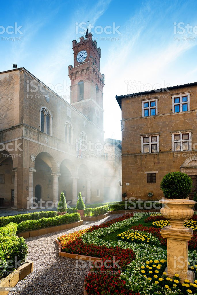 Historic Centre of Pienza in morning fog. royalty-free stock photo