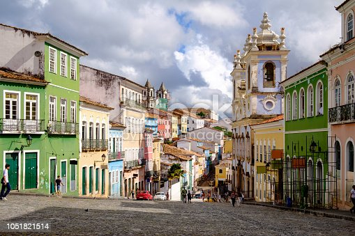 Colorful houses in the historic center of Salvador in Bahia / Brasil. A myth says that every cobblestone is one slave who died in this place