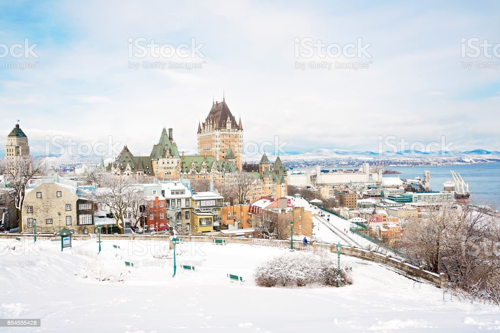 Historic Chateau Frontenac in Quebec City stock photo