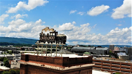 Picture of the historic Chattanooga Choo-Choo sign taken from a drone on a beautiful day.