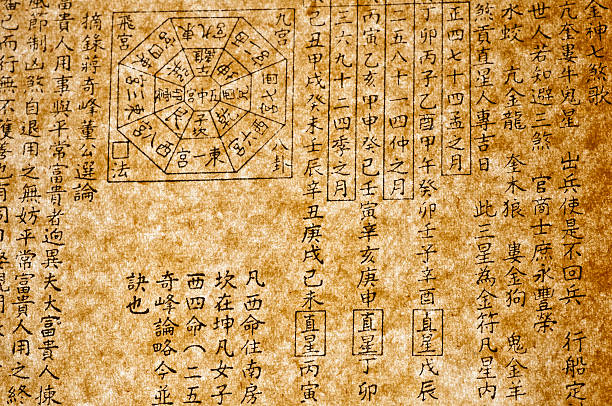 historischen chinesischen text - chinesischer kalender stock-fotos und bilder