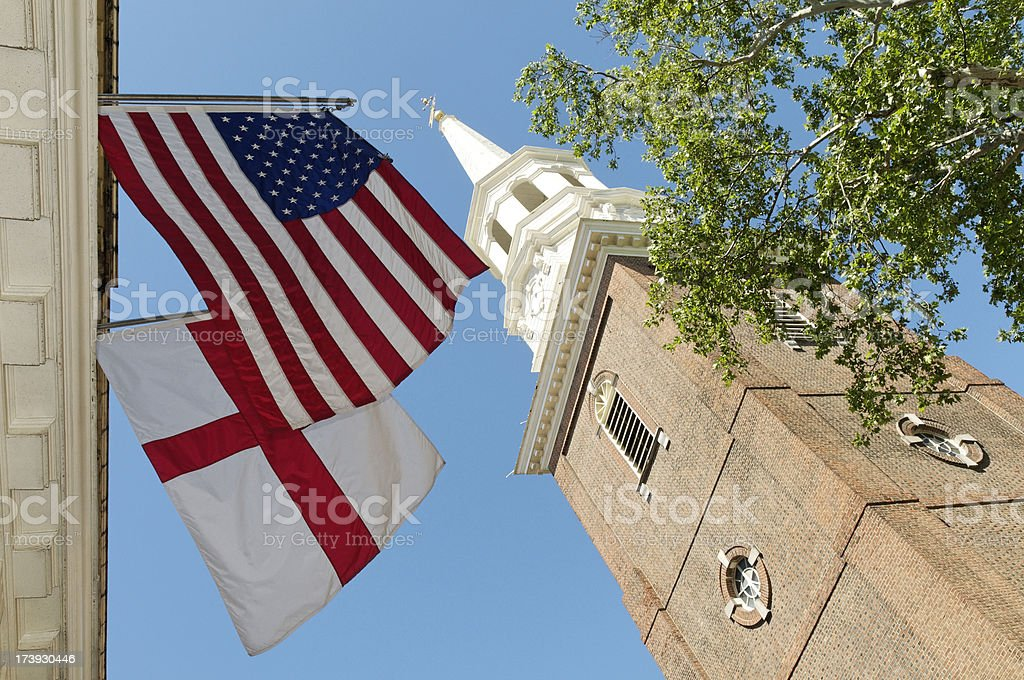 Historic Christ church in Philadelphia with American and English flags stock photo