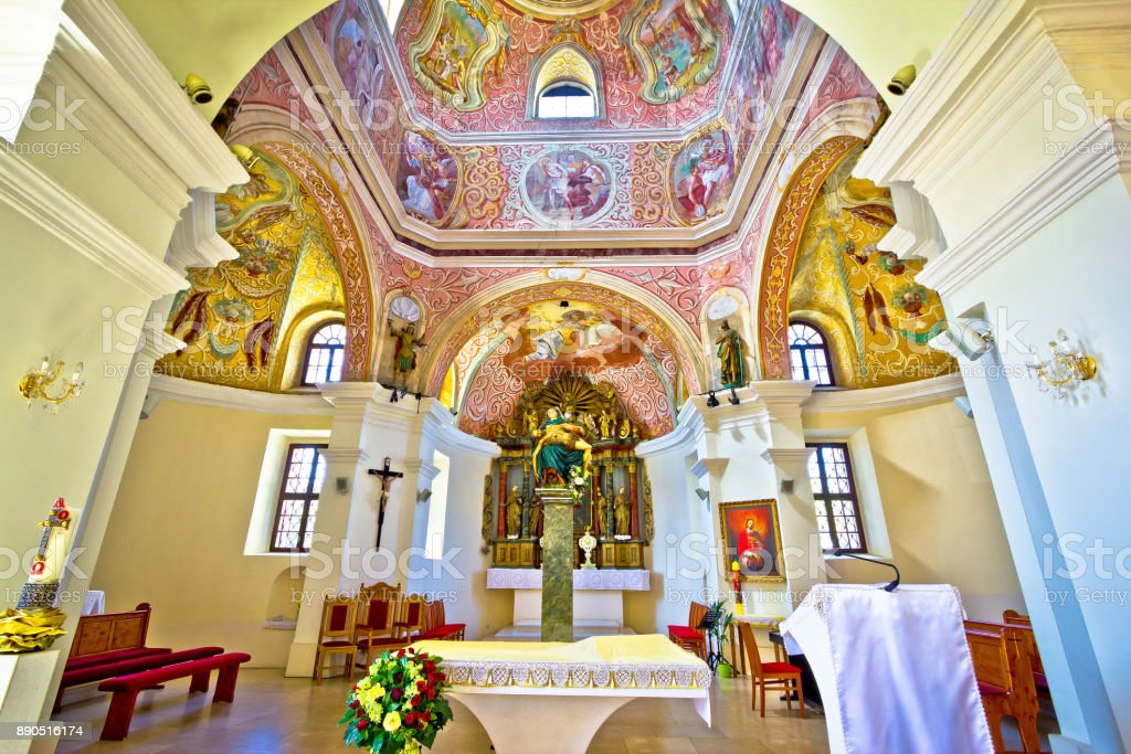 Historic church altar view in Krizevci, Croatia, stock photo
