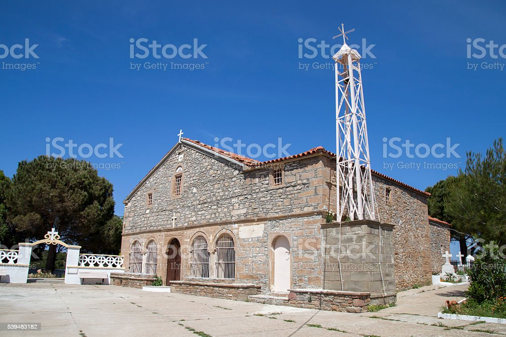 historic church in Zeytinli Village stock photo