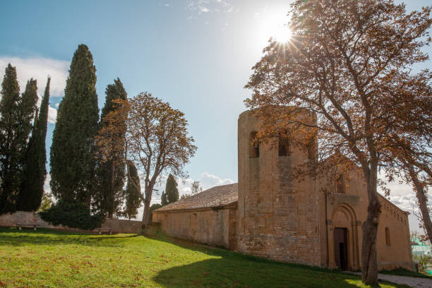 historic church Pieve di Corsignano Pienza Tuscany historic church Pieve di Corsignano Pienza Tuscany Italy pienza stock pictures, royalty-free photos & images
