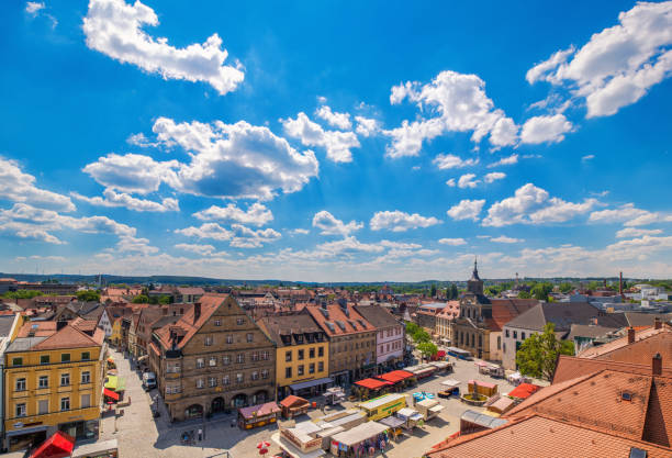 Historic city center of and pedestrian zone of Bayreuth stock photo