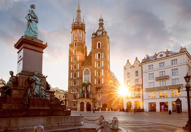 Historic city center of Krakow, Poland - view on Adam stock photo