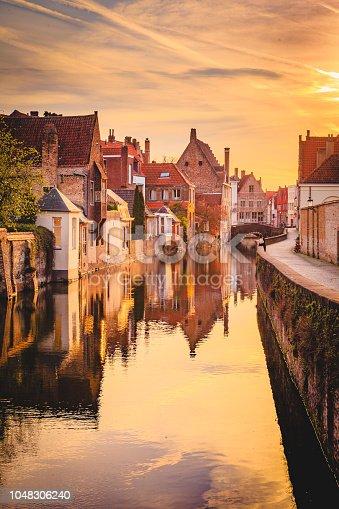 istock Historic city of Brugge at sunrise, Flanders, Belgium 1048306240