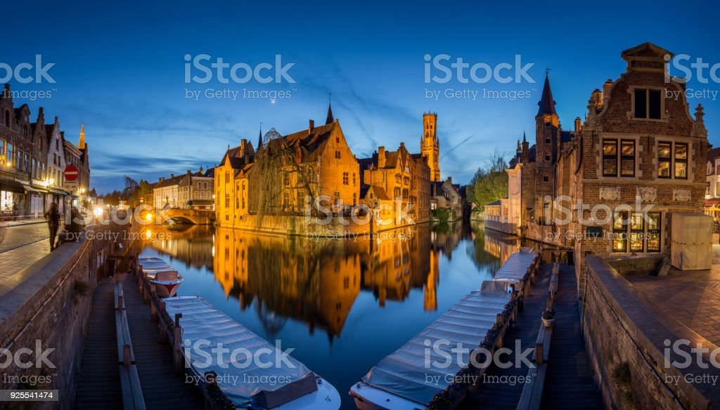 Historic city of Brugge in twilight, Flanders, Belgium stock photo
