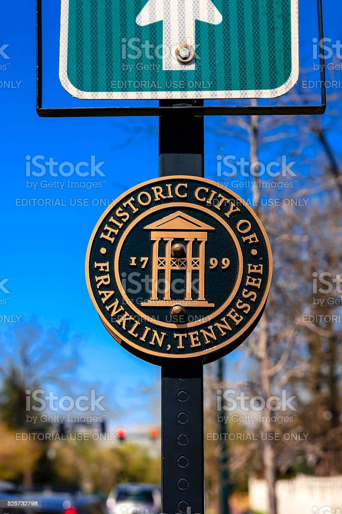 Historic City of Franklin Tennessee round plaque stock photo