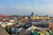 Historic city of Olomouc, Czech Republic, Europe, 200 km east of Prague. Panorama, aerial view.
