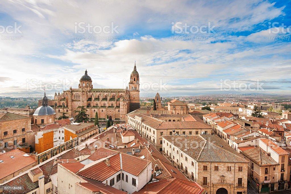 Historic city of Salamanca at sunrise, Castilla y Leon, Spain stock photo
