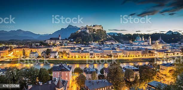 Photo of Historic city of Salzburg at dusk, Salzburger Land, Austria