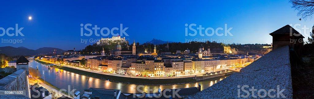 Historic city of Salzburg at dusk, Salzburger Land, Austria stock photo