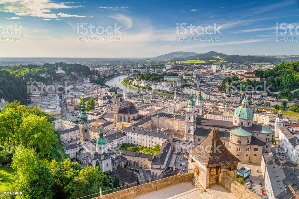 Historic city of Salzburg at sunset in summer, Austria stock photo