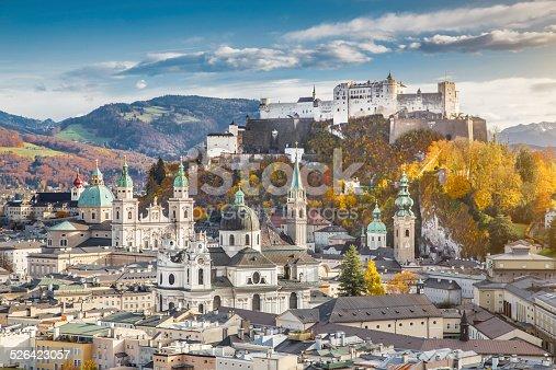 istock Historic city of Salzburg in fall, Austria 526423057