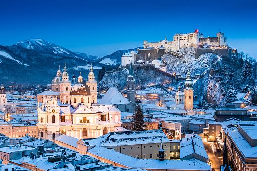 Beautiful view of the historic city of Salzburg with Festung Hohensalzburg in winter, Salzburger Land, Austria.