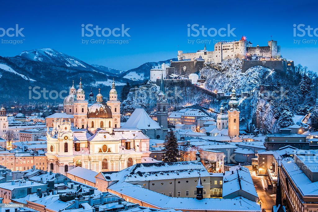 Historic city of Salzburg in winter, Salzburger Land, Austria stock photo