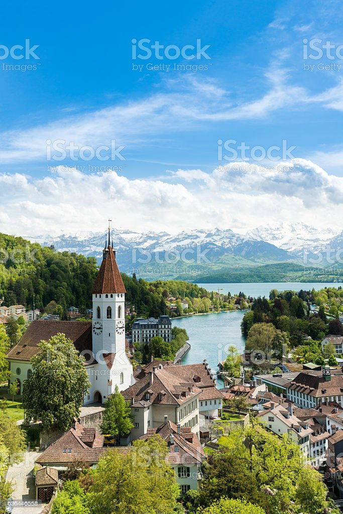 Historic city of Thun in canton of Bern in Switzerland. stock photo