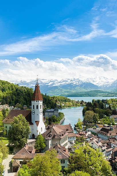 historic city of thun in canton of bern in switzerland. - thun switzerland stock-fotos und bilder