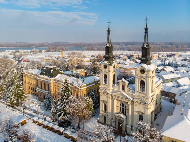 Historic city under the snow from air Sremski Karlovci, Serbia serbia and montenegro stock pictures, royalty-free photos & images