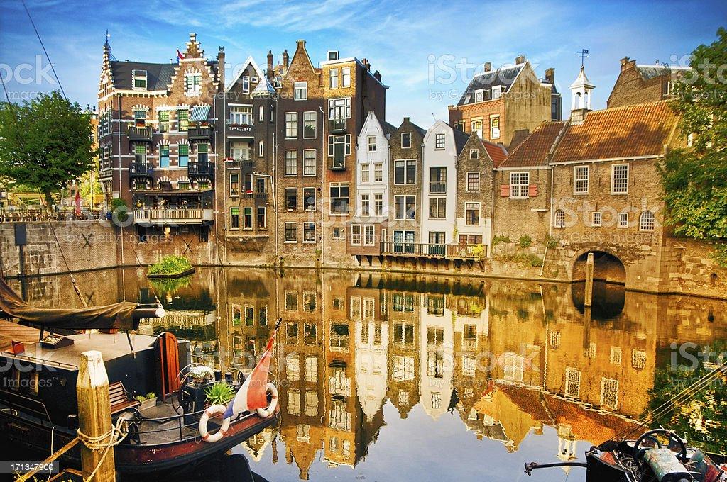 Historic cityscape of Delfshaven, Rotterdam stock photo
