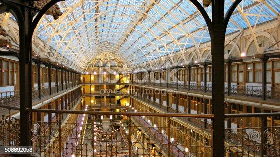 Twilight time inside the beautifully designed historic Cleveland Arcade.