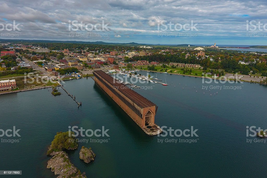 Historic coal loading dock in Marquette Michigan stock photo