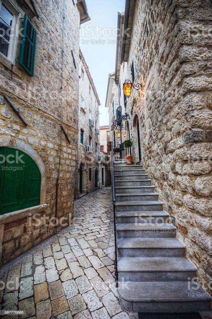 Historic Cobble Alleyway in Kotor Montenegro stock photo