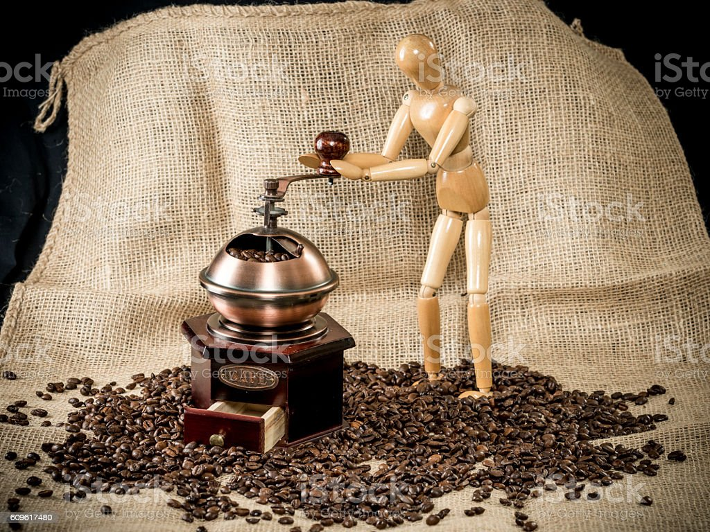 historic coffee grinder stock photo