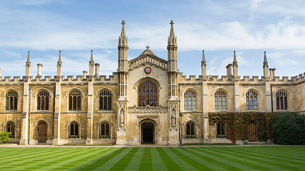 historic  college building in cambridge, united kingdom - cambridge university stock photos and pictures