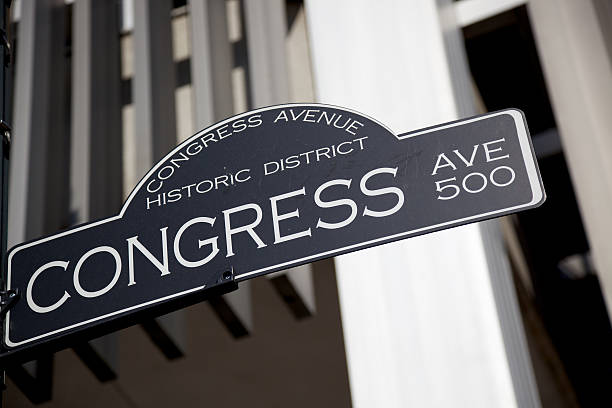 La histórica avenida Congress señal en Austin, Texas - foto de stock