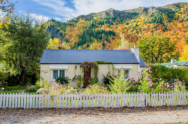 Historic cottage with beautiful garden in Arrowtown, New Zealand stock photo