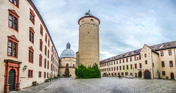 Historic courtyard of famous fortress Marienberg in Wurzburg, Bavaria, Germany