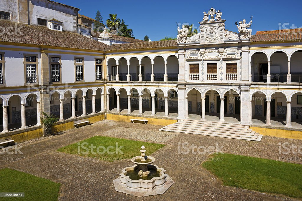 Historic Courtyard of Évora University, Portugal stock photo