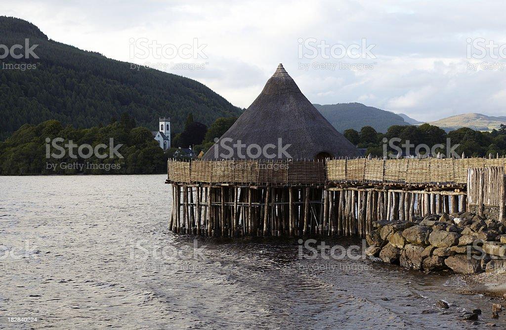 Historic Crannog, Loch Tay, Perthshire, Scotland royalty-free stock photo