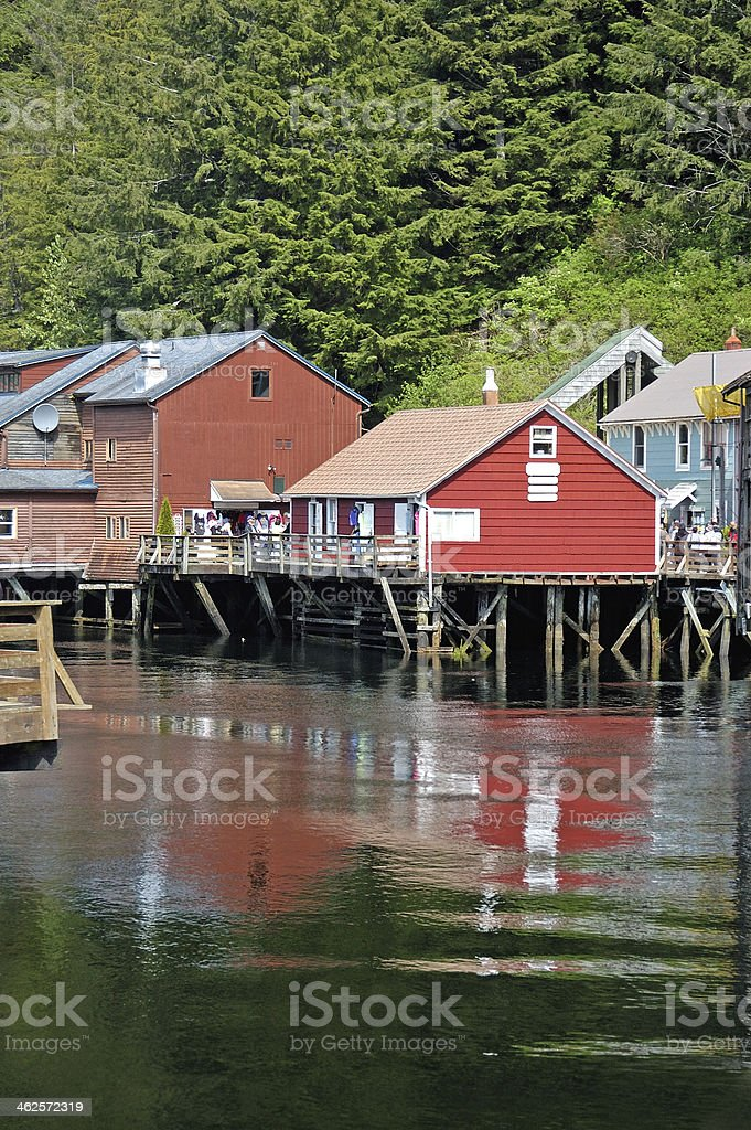 Historic Creek Street in Ketchikan, Alaska stock photo
