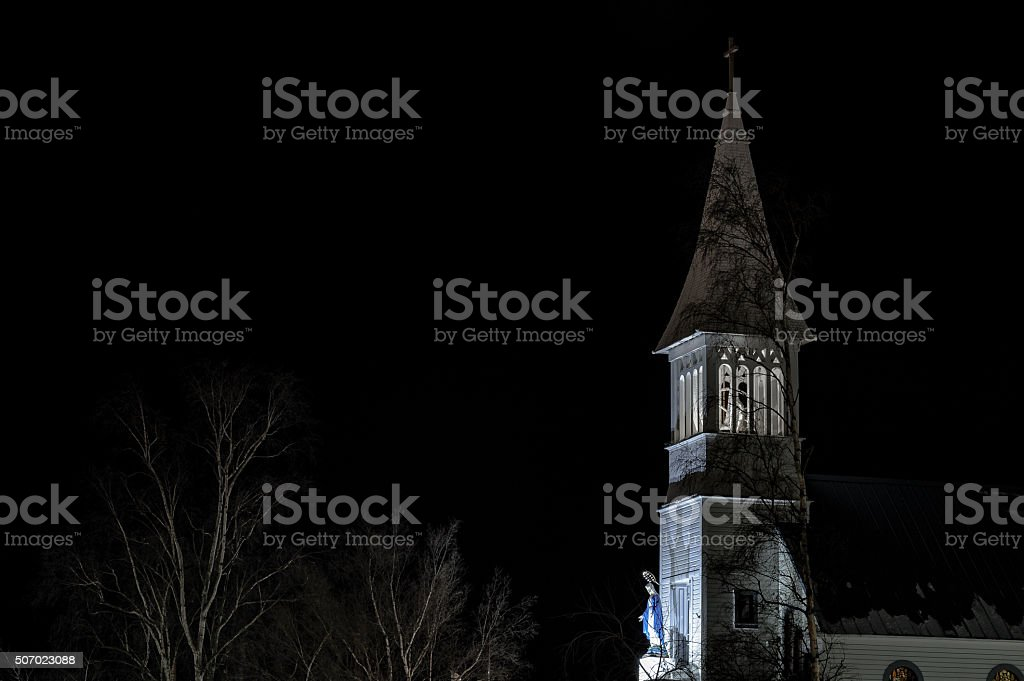 Historic Curch at night stock photo