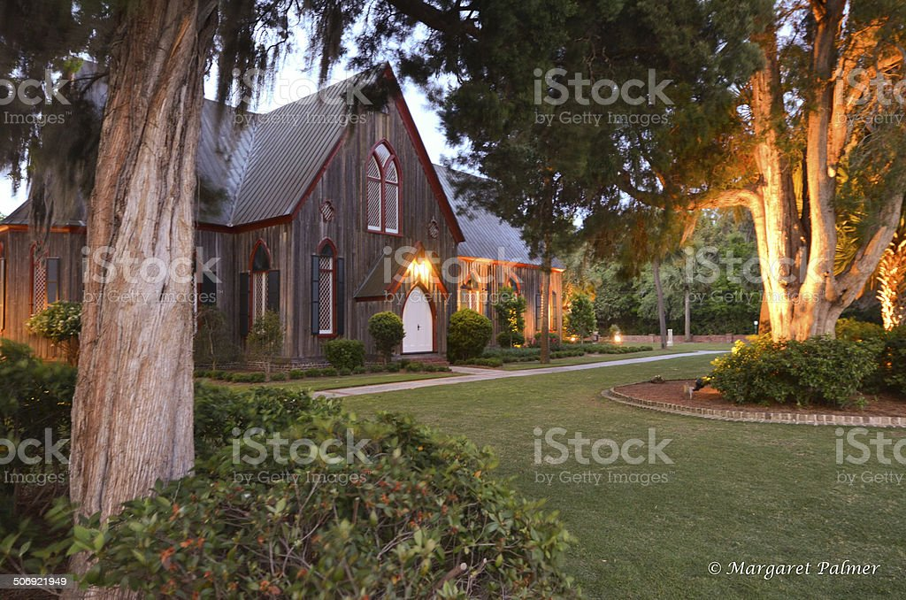 Historic cypress church in Bluffton SC stock photo