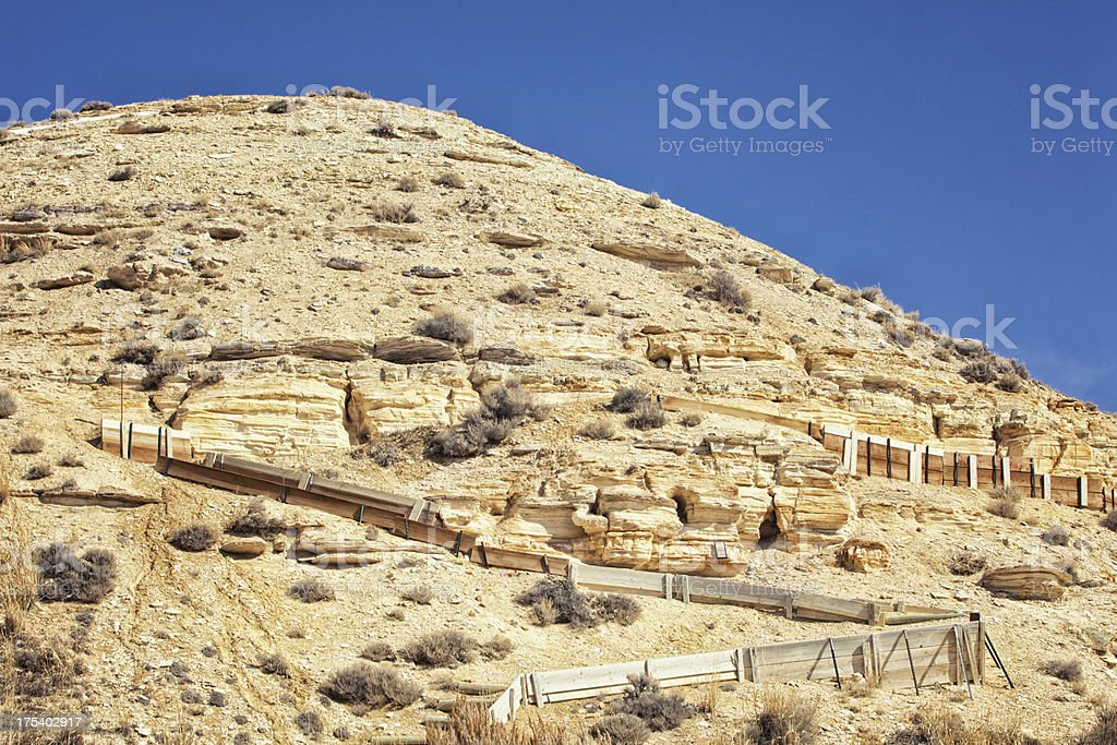Historic Dig Site at Fossil Butte National Monument stock photo