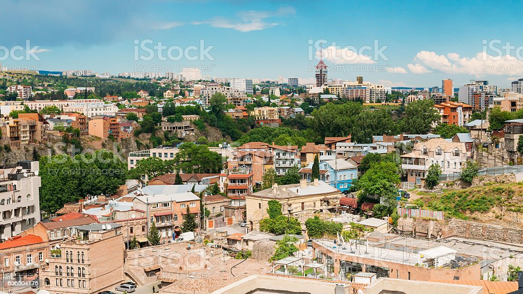 Panorama Of Tbilisi Old Town, Georgia. Historic District. Abanotubani...