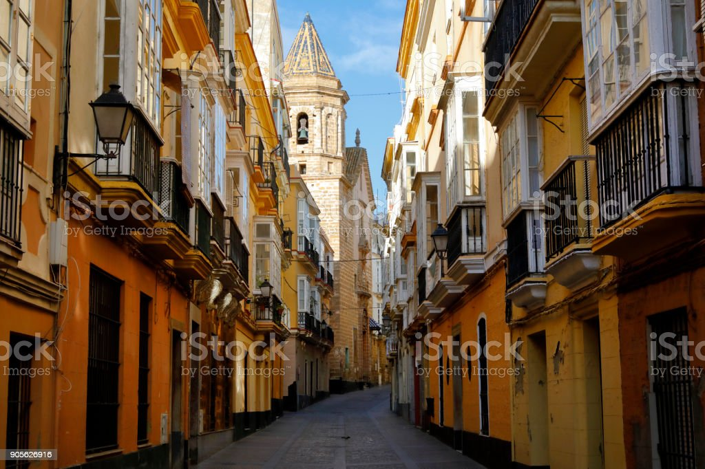 Historic district of Cadiz, Andaluse, Spain stock photo