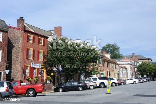 New Castle, USA - August 25, 2013. Downtown area of the historic city of New Castle in Delaware. Founded in 1640, New Castle was the landing place of William Penn. It is about 10 minutes south of the city of Wilmington with a population of just over 5,000.