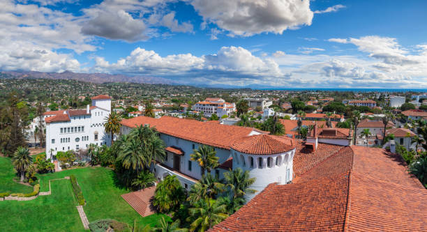 Historic Downtown Santa Barbara, California. Panoramic shot of Santa Barbara downtown historic buildings. In the foreground there is County Superior Court Building. In the background, public and residential part of Santa Barbara. santa barbara california stock pictures, royalty-free photos & images